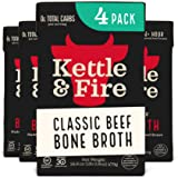 Beef Bone Broth Soup by Kettle and Fire, Pack of 4, Keto Diet, Paleo Friendly, Whole 30 Approved, Gluten Free, with…