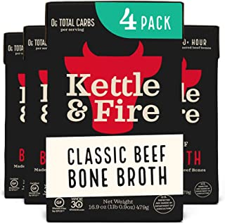 product image for Beef Bone Broth Soup by Kettle and Fire, Pack of 4, Keto Diet, Paleo Friendly, Whole 30 Approved, Gluten Free, with Collagen, 10g of protein, 16.9 fl oz (Packaging May Vary)