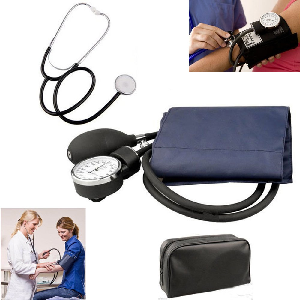 Manual Adult Size Deluxe Aneroid Sphygmomanometer - Professional Blood Pressure BP Monitor with Adult Cuff Set Sphygmomanometer Stethoscope Kit and Carrying Zipper case FDA