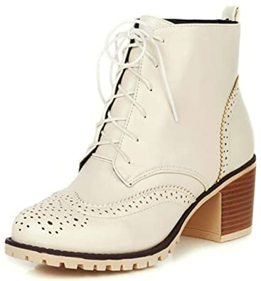 Women's Trendy Round Toe Lace-up Brogues Oxfords Booties Stacked Mid Block Heel Ankle Boots