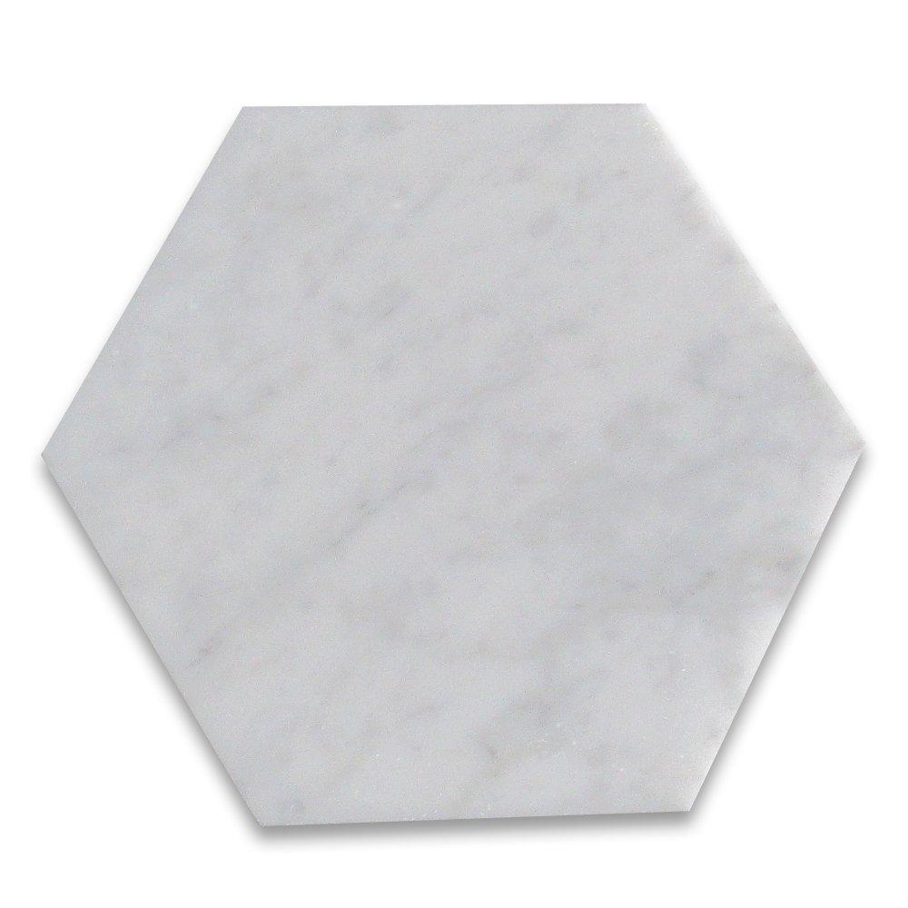 Carrara White Italian Carrera Marble Hexagon Tile 6 inch Honed -100 pcs