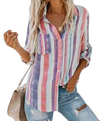 af331dbdb55 Comaba Women Button Up Stylish Curved Hem Stripe Tunic Tops Blouse Pink S