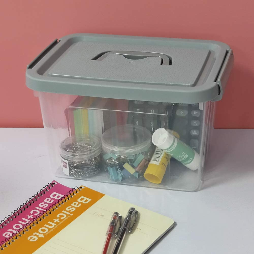 6 Packs Neadas Small Clear and Grey Plastic Portable Storage Bins Latch Box Container