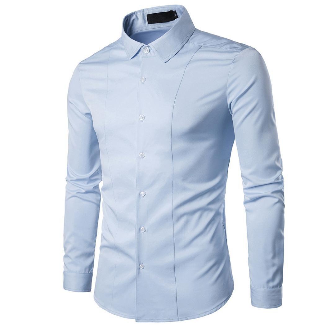 iLXHD Autumn Men's Casual Fashion Cotton Long Sleeve Dress Shirt Tops Blouse(Light Blue,L)