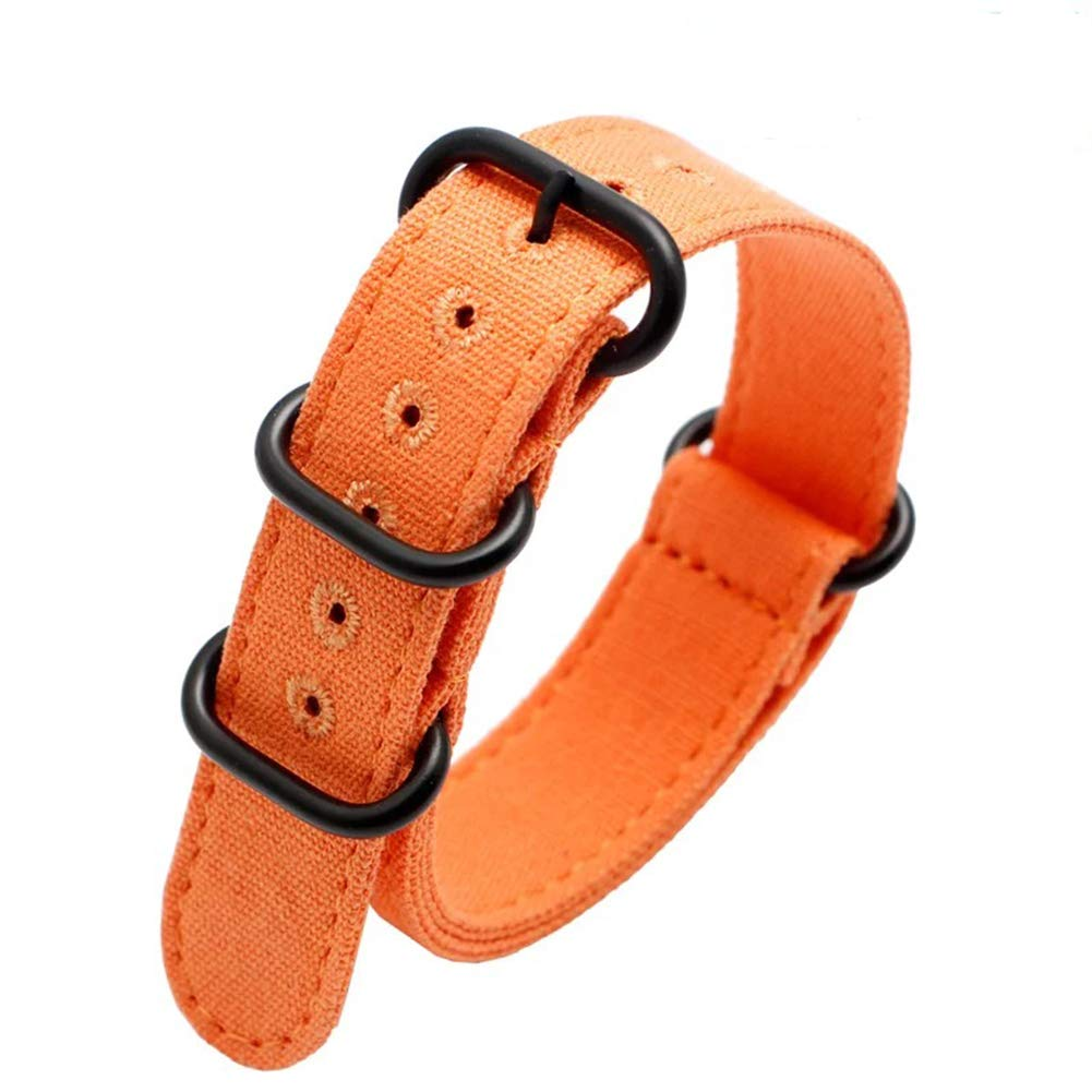 20mm Rugged Orange Stitched Canvas Watch Strap for Men and Women NATO Straps with Vaccum Plating Black Buckle Cotton Canvas Watch Bands