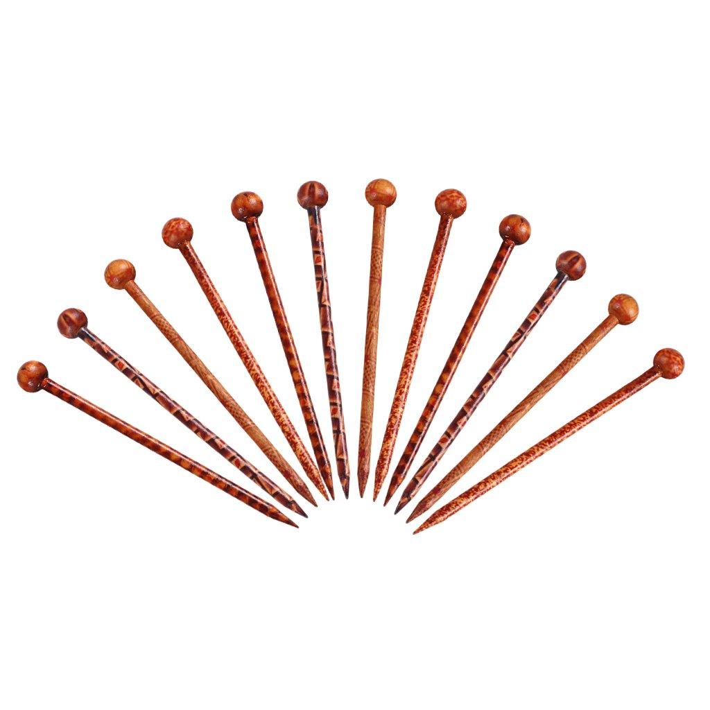 B Baosity 12 x Palitos de Pelo de Madera Accesorios de Joyería de Cabeza de Damas