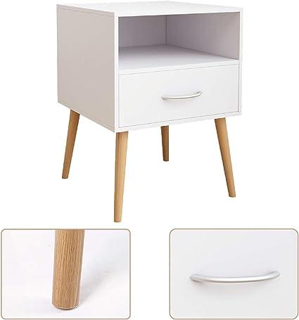 42 x 42 x 56 cm Grey, 2 J Joolihome Wood Bedside Table Set of 2 Cabinet Storage Nightstands 1 Drawer with Metal Handle