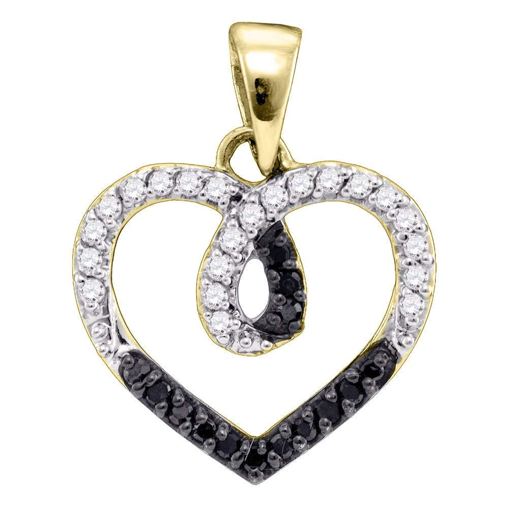 Yellowtone Sterling Silver Womens Round Black color Enhanced Diamond Heart Pendant 1 4 Cttw