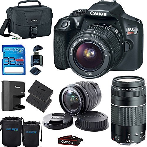 Deal-Expo Canon EOS Rebel T6 Digital SLR Camera Kit with EF-S 18-55mm and EF 75-300mm Zoom Lenses (Black) Premium Accessories Bundle