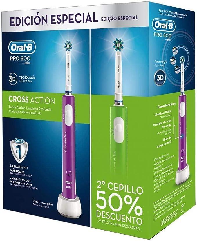 Oral B - Pack 2 Cepillos De Dientes Pro 600 Verde Y Morado: Amazon ...