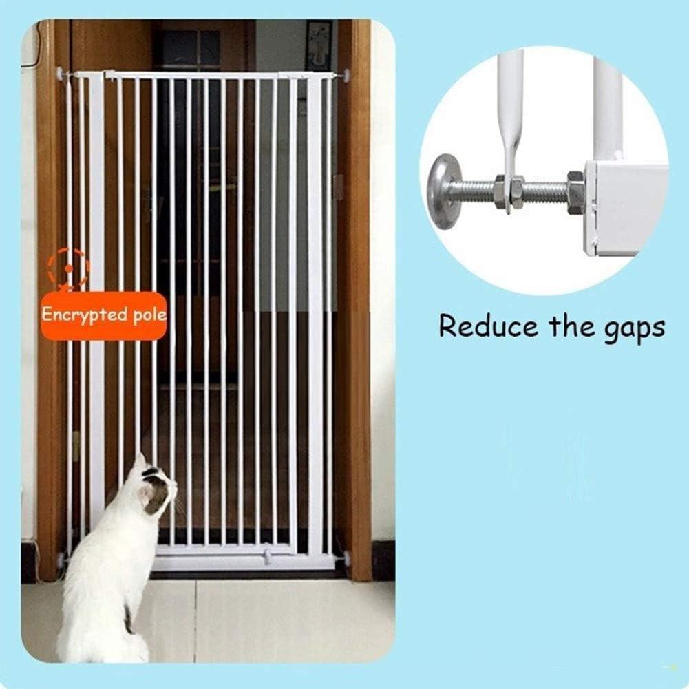 AFDK Puerta para gatos extra alta de 120 cm, puertas de metal para mascotas para perros blancos con puerta peatonal, fácil de abrir, 66-134 cm de ancho,Ancho 106-110cm / 41,7 a 43,3