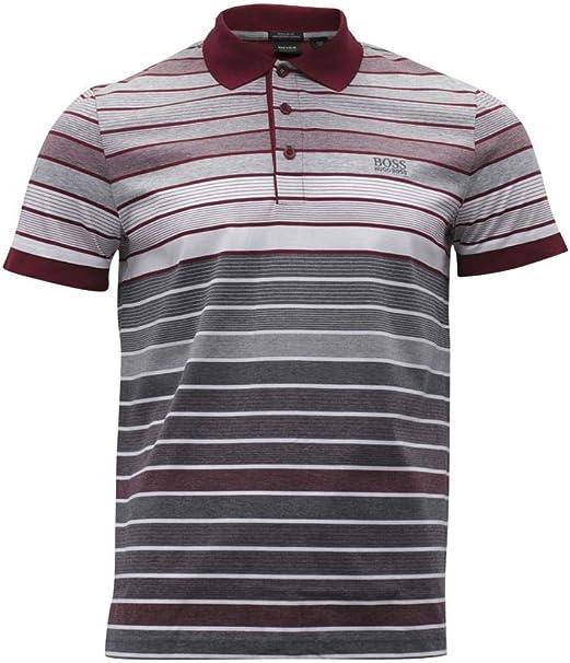 Hugo Boss Men/'s White Black Striped Paddy 5 Polo T-shirt Short Sleeve