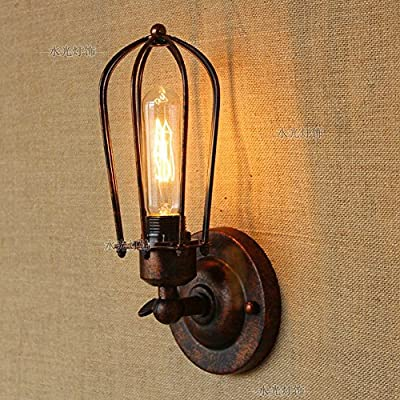CGJDZMD Wall Sconce Industrial Edison Wire Caged Rustic Metal Wall Lamp E27 1-Light Retro Wall Light for House Coffee Shop Club Decoration Wall Lantern