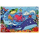 Under the Sea Jigsaw Foam Puzzle - 12x18 Inches Floor Mat - 54 Soft and Thick Pieces - Vibrant Image of Cute Animals and Fish Underwater - Fun Birthday Gift for Kids Age 3-6 Years Old, by Premium Joy