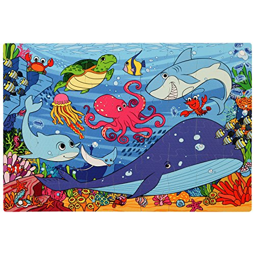 Sea Animals Floor Puzzle (Under the Sea Foam Floor Puzzle - 54 Soft Pieces - 12x18 Inches Mat - Great Quality Jigsaw Puzzle for Preschoolers and Toddlers - Fun and Vibrant Image of Animals Underwater, by Premium Joy)