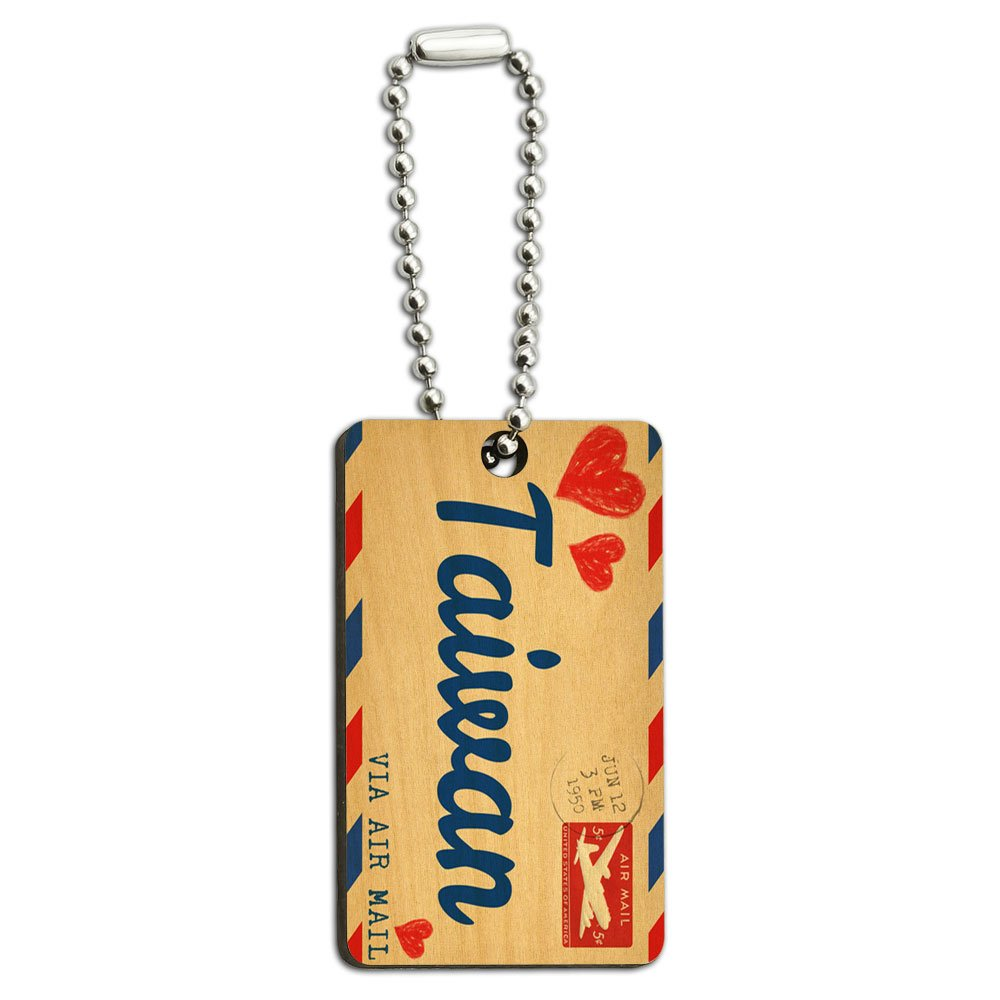 Air Mail Postcard Love for Taiwan Wood Wooden Rectangle Key Chain