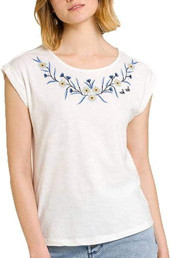 Naf Naf Camiseta Flores Bordadas Crudo L: Amazon.es: Ropa