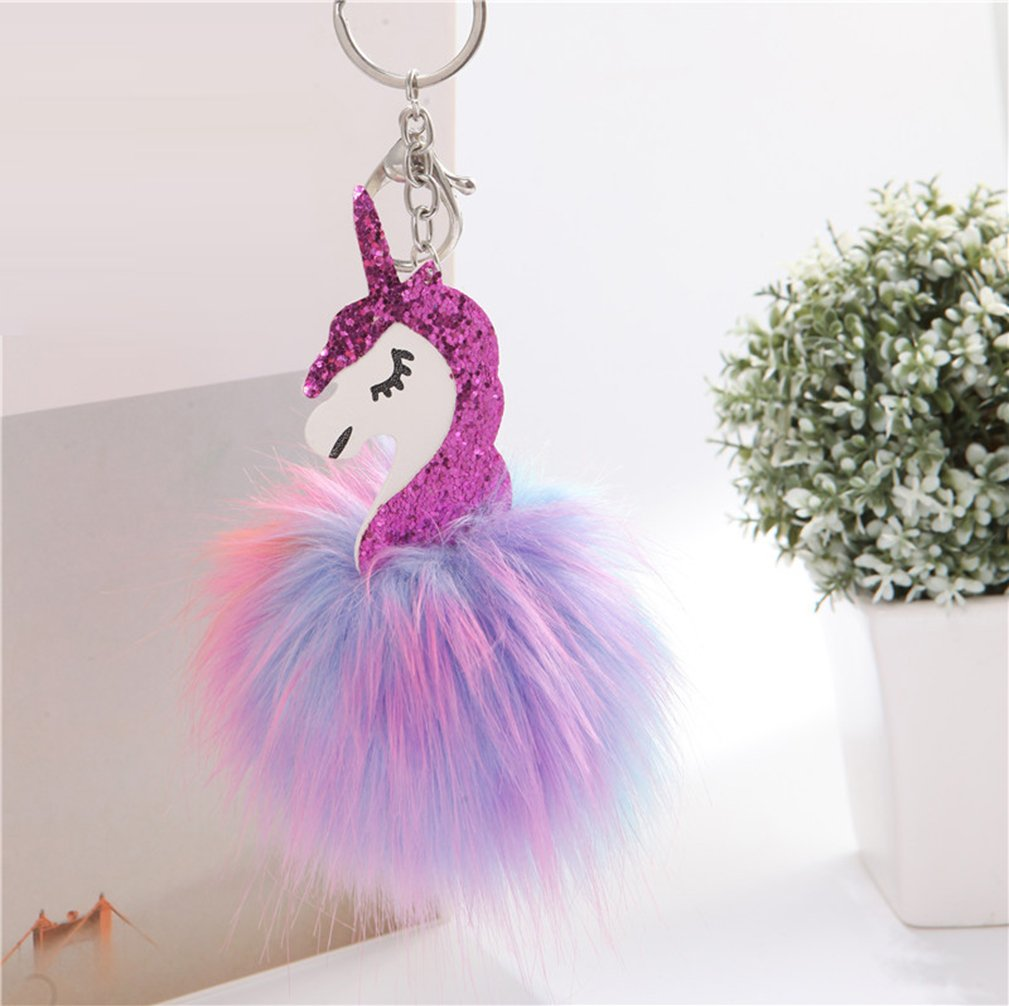 DRESHOW Unicorn Drawstring Backpack/Make Up Bag/Necklace Chain/Fluffy Key Chain Ring Gift Sets for Girls Pack 4 by DRESHOW (Image #4)