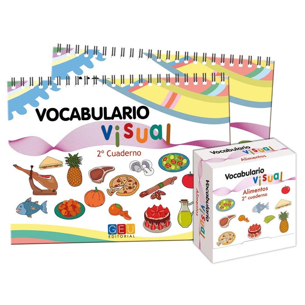 Cuaderno vocabulario visual: Alimentos | Aprender Vocabulario Educación Primaria | tarjetas ilustradas con Acciones: Amazon.es: Editorial Geu: Libros