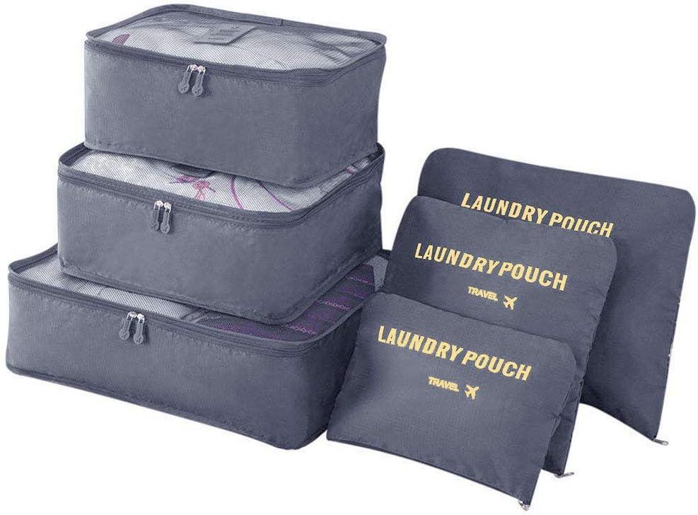 Vicloon Organizador de Equipaje, 6 en 1 Set de Organizadores de Viajes, Impermeable Organizador de Maleta Bolsa Incluir 3 * Cubos del Embalaje del Recorrido y 3 * Bolsos de la Compresión (Gris)