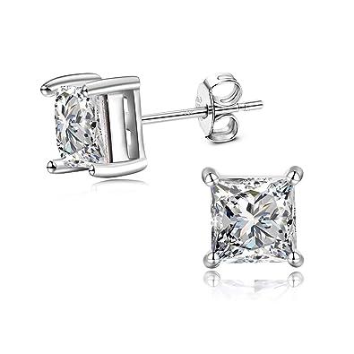 GULICX 7mm Square Zircon Unisex Men Women 925 Sterling Silver Stud Earrings White Clear CZ
