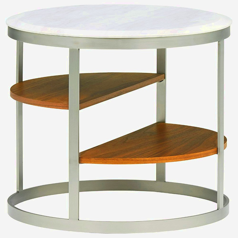 Amazon.com: White Marble Side Table Modern For Living Room Or Bedroom Round  Metal Frame Sofa Side Bed End Table Furniture U0026 EBook By Easyu0026FunDeals:  Kitchen ...