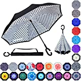 Double Layer Inverted Umbrellas Reverse Folding Umbrella Windproof UV Protection Big Straight Umbrella Inside Out Upside Down for Car Rain Outdoor With C-Shaped Handle