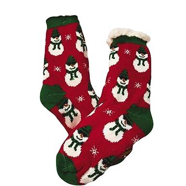 Calcetines Mujer Divertidos Invierno Antideslizantes Unisex Casual Navidad Cute Dibujos Animados Espesor Medias Dormir Calcetines (