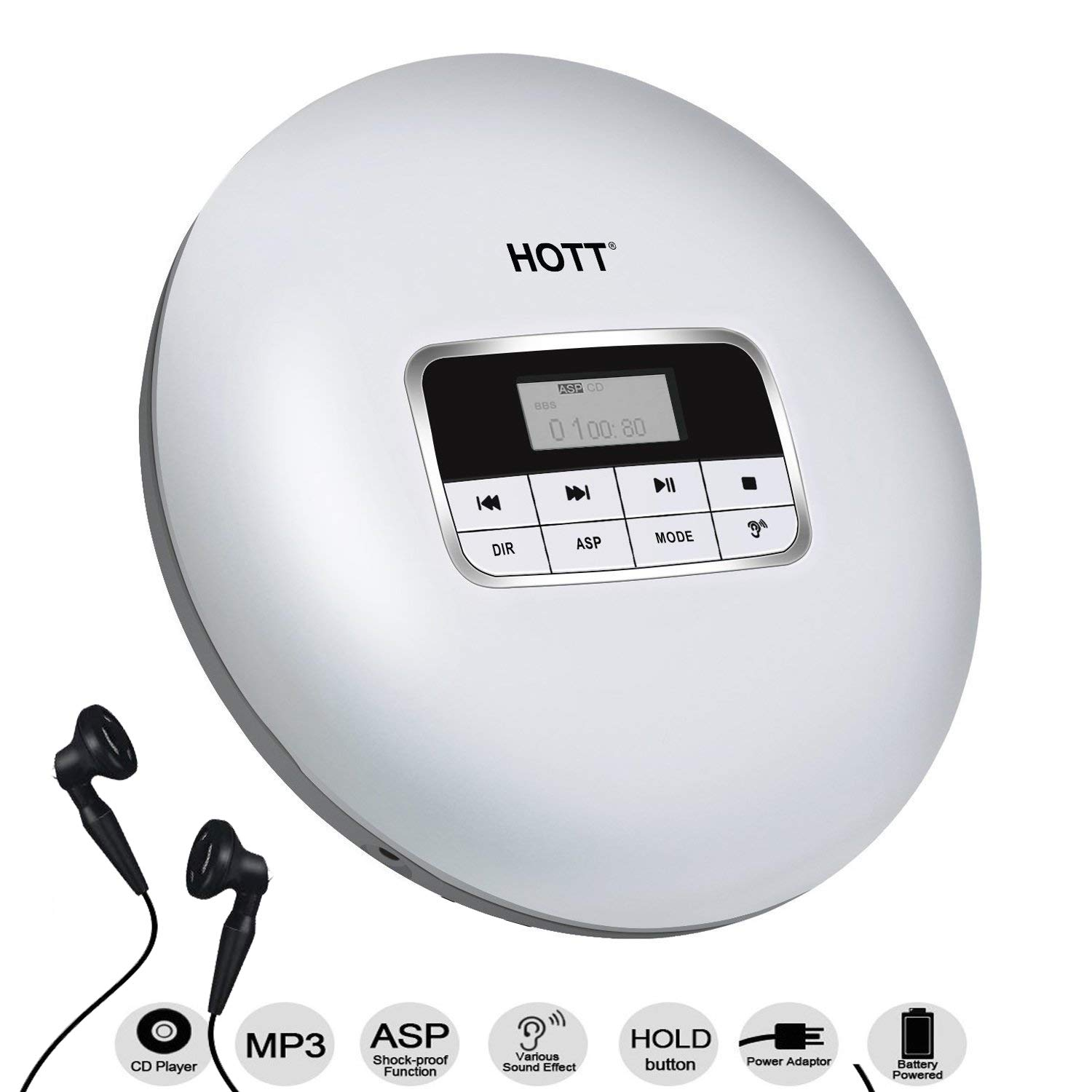 HONGYU Slim Portable CD Player With LCD Display, Shockproof Function Anti-Skip Protection Personal Compact Disc Player With Earphone And Power Adapter (White)