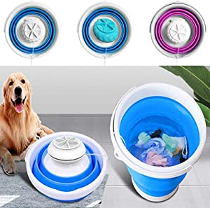 Mini Washing Machine, Portable Ultrasonic Turbine Washer with Foldable Pail, USB Powered Compact Personal Rotating Turbine Laundry for Camping Apartments Dorms College Rooms