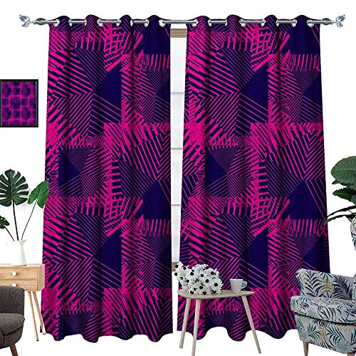 homehot Magenta Window Curtain Fabric Trippy Zip Style Mix Pattern with Dark Color Effects and Diagonal Linked Lines Drapes for Living Room Fuchsia Purple (Nouveau Zip Back)
