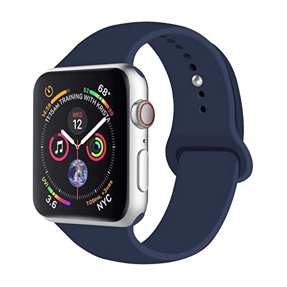 Compatible with Apple Watch 44mm & 42mm Sport Band Midnight L/XL Blue,Fotbor Soft Silicone Strap Replacement Wristbands for iWatch Series 4/3/2/1