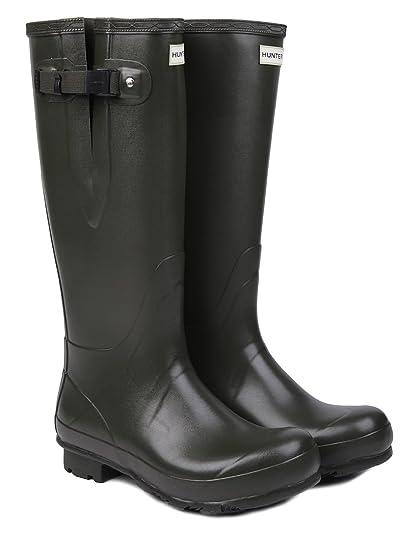 New Hunter Men's Norris Field Adjustable Neoprene Lined Wellington Boots -  Dark Olive - 11