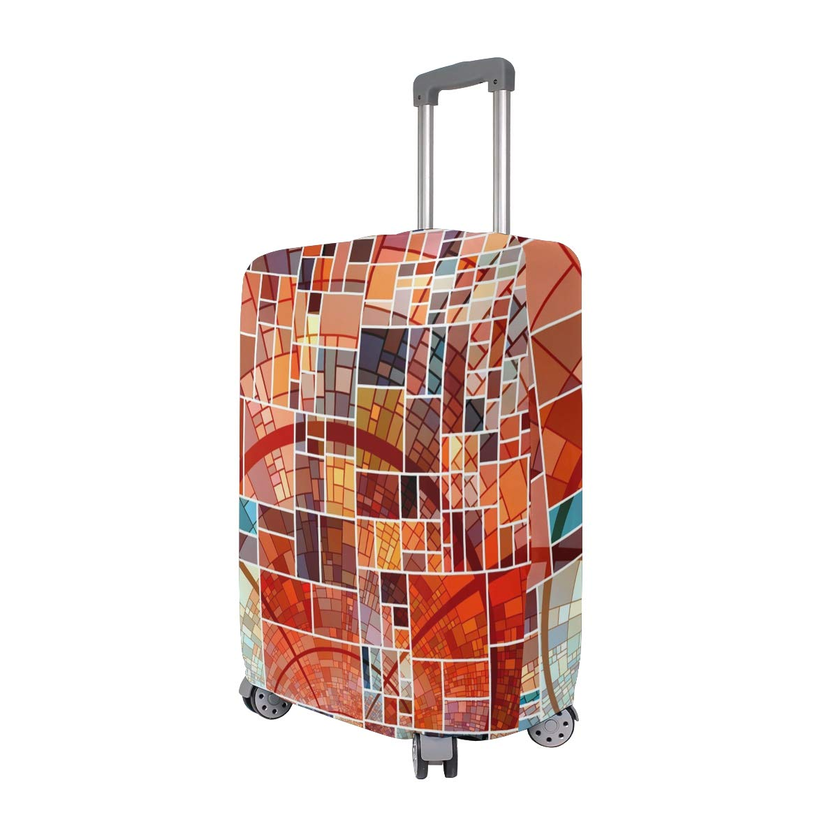 Travel Luggage Cover Abstract Squares Aesthetics Color Suitcase Protector Fits 26-28 Inch Washable Baggage Covers