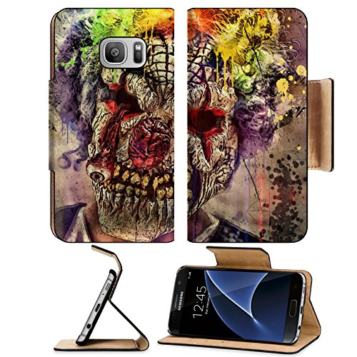 [MSD Premium Samsung Galaxy S7 Flip Pu Leather Wallet Case IMAGE ID 30548880 scary clown] (Scary Christmas Clowns)