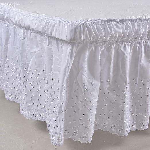 Falda de cama elástica con volantes, color sólido, para cama de ...