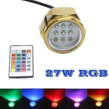 9LEDS 12V 1//2/'/' NPT Drain Plug Light  Blue Underwater LED Drain Plug Light IP 68