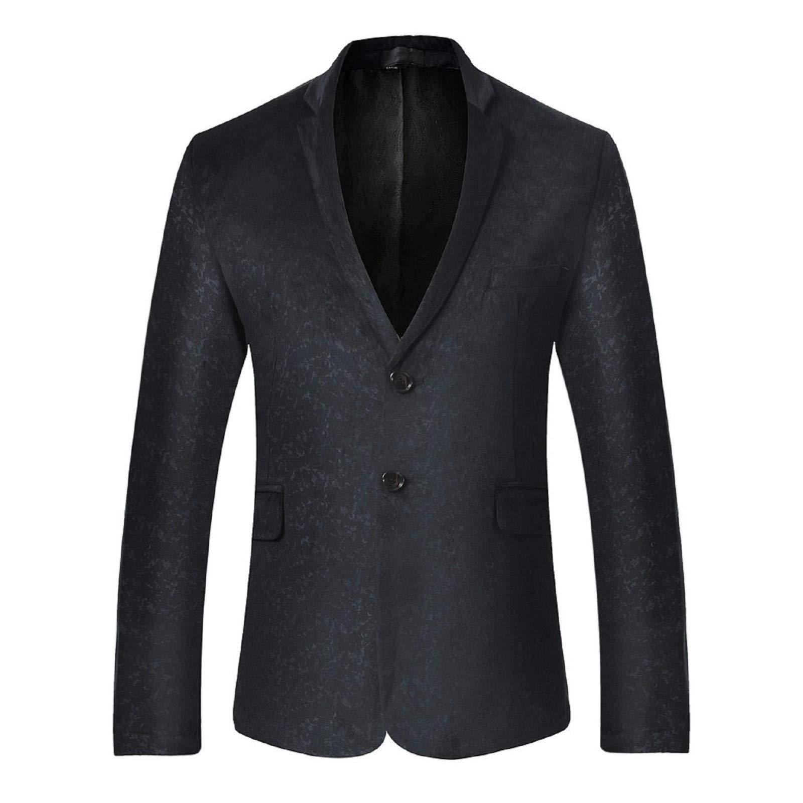 BingYELH Prom Suit for Men,Men's Floral Party Suit Slim Fit Stylish Dinner Jacket Wedding Blazer Prom Black