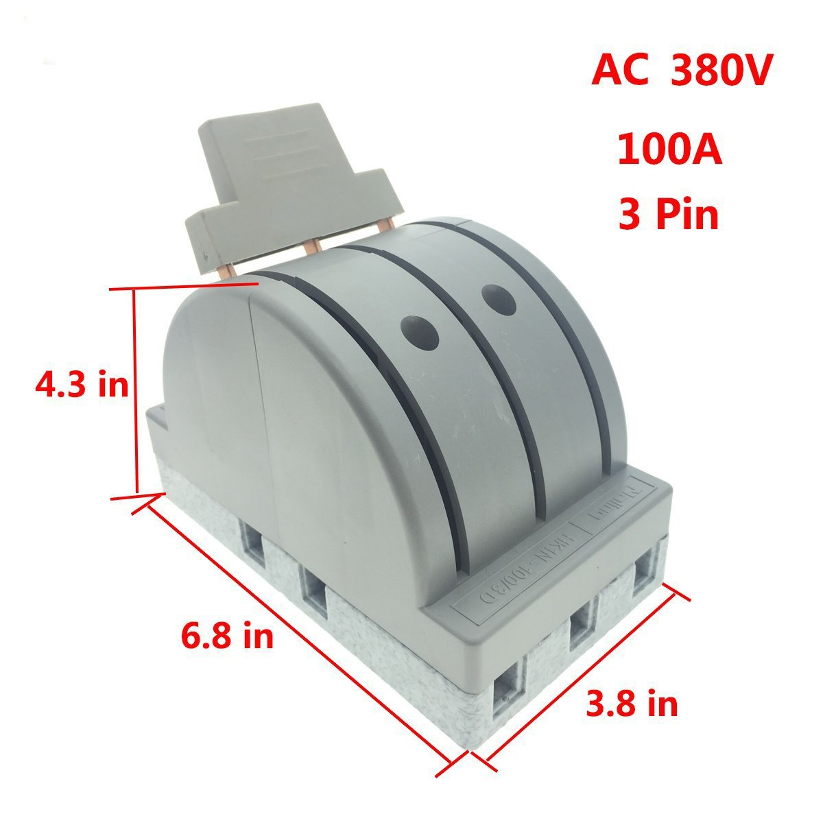 YXQ 380V 100A 3 Pole Double Throw Power Supply Safety Control Knife Switch Gray by YXQ (Image #2)