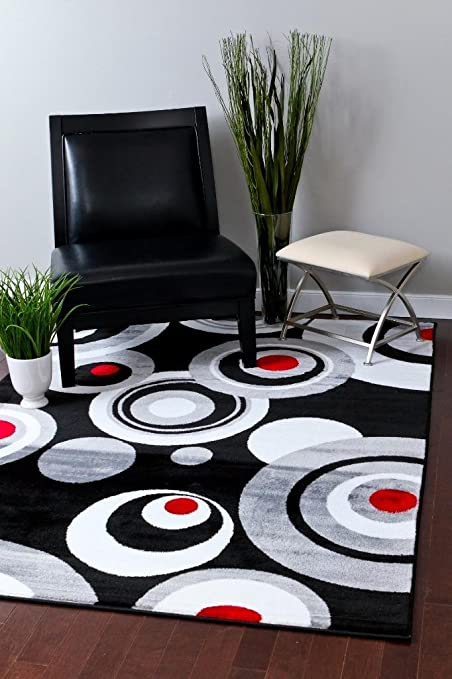 Amazoncom 175 Gray Black White Red 52 X 72 Modern Abstract Area