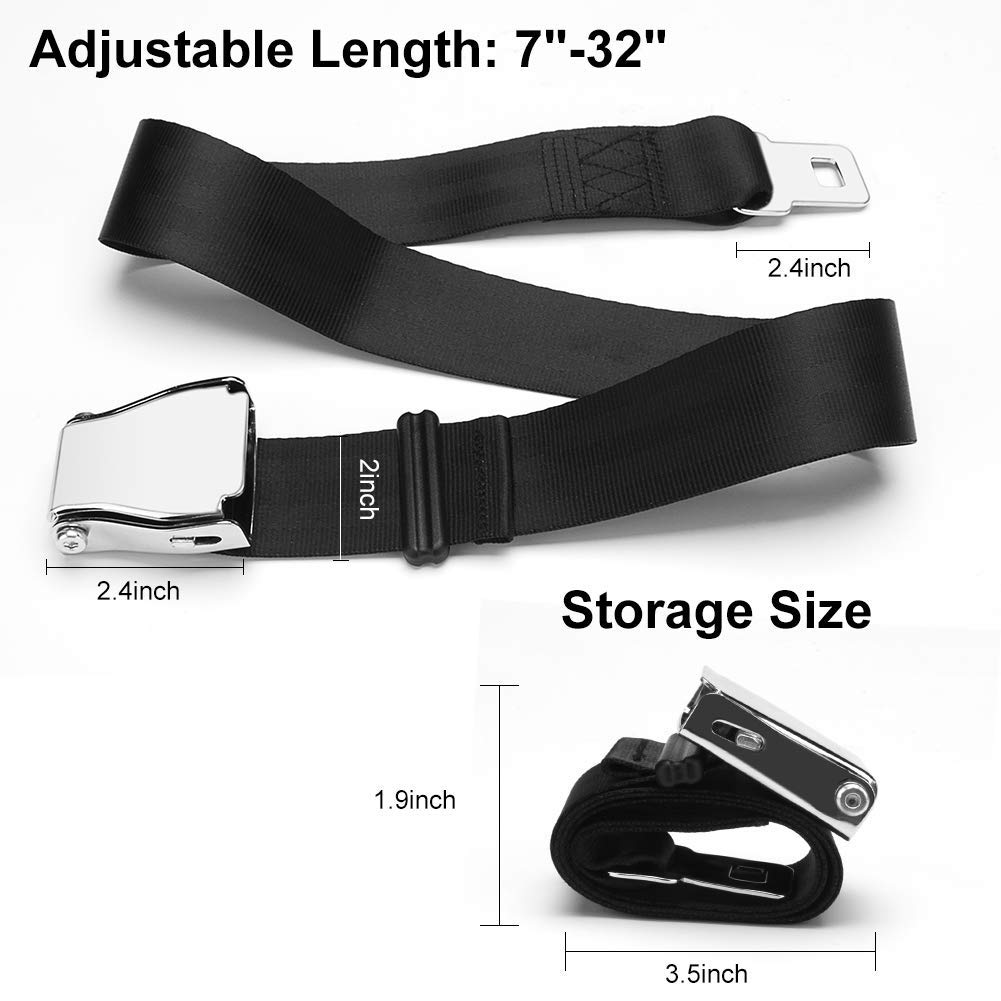 Airplane Seat Belt Extender Black Letitia Clapham Fits All Airlines EXCEPT Southwest 7-32 inch Adjustable Portable Airline Seatbelt Extender FAA /& E4 Certified