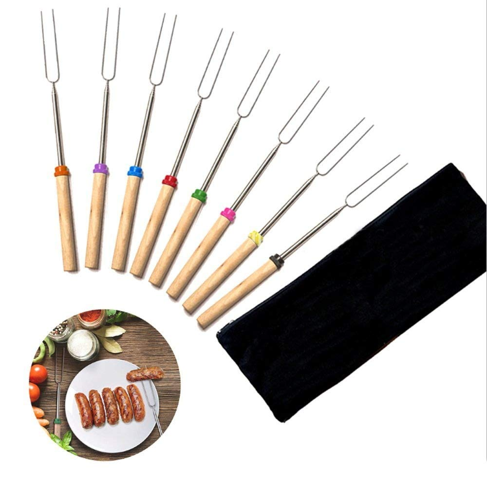 URBEST 8 Pcs Extending Stainless Steel Forks, Roasting Forks Hot Dog Marshmallow Smores Skewers 34''Extendable Telescoping BBQ Rotating Fork for Bonfire Campfire Camping Barbecue