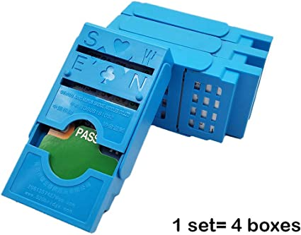 Set of 4 Bling Bling Folding Bridge Boxes with Plastic Cards Bidding Device