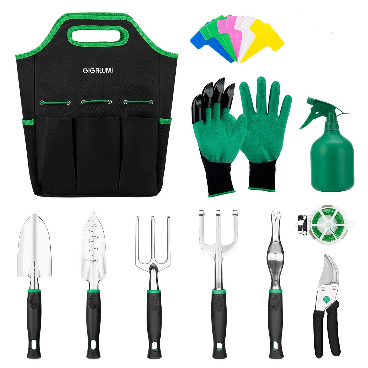 GIGALUMI 11 Piece Garden Tools Set - Gardening Tools with Garden Gloves and Garden Handbag - Gardening Gifts Tool Set with Garden Trowel Pruners and More - Aluminum Outdoor Hand Tools