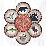 Jute Trivets Earth Rugs Tnb-43 Wildlife Trivets In A Basket 10'' X 10'' 10 X 1.5 X 10 Inches Multicolored