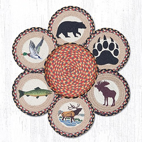 Jute Trivets Earth Rugs Tnb-43 Wildlife Trivets In A Basket 10'' X 10'' 10 X 1.5 X 10 Inches Multicolored by Earth Rugs