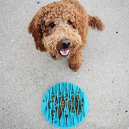 Pet Fun Slow Feeder Mat Portable Dog Feeder Bowl,Cat Food and Water Twin Set Feeding Bowl for Traveling,Pet Chilled Frosty Cooling Bowl,Non-slip Bottom,Food Grade Silicone Anti-gulp Dog Bowl,Blue (S)