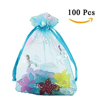 "100-200 PCS  5/""×7/"" Wedding Organza Gift Favor Bag Drawstring Candy Jewelry Pouch"