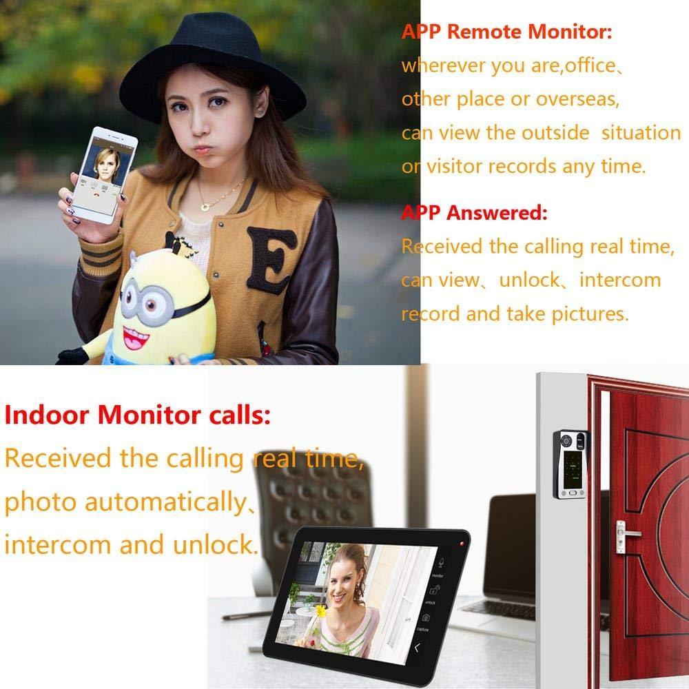 telecomando//password//sblocco carta didentit/à Videocamera DYWLQ///Smart per porta a casa campanello video citofono wireless WiFi da 10 pollici videocamera HD 720P,APP//impronta digitale //