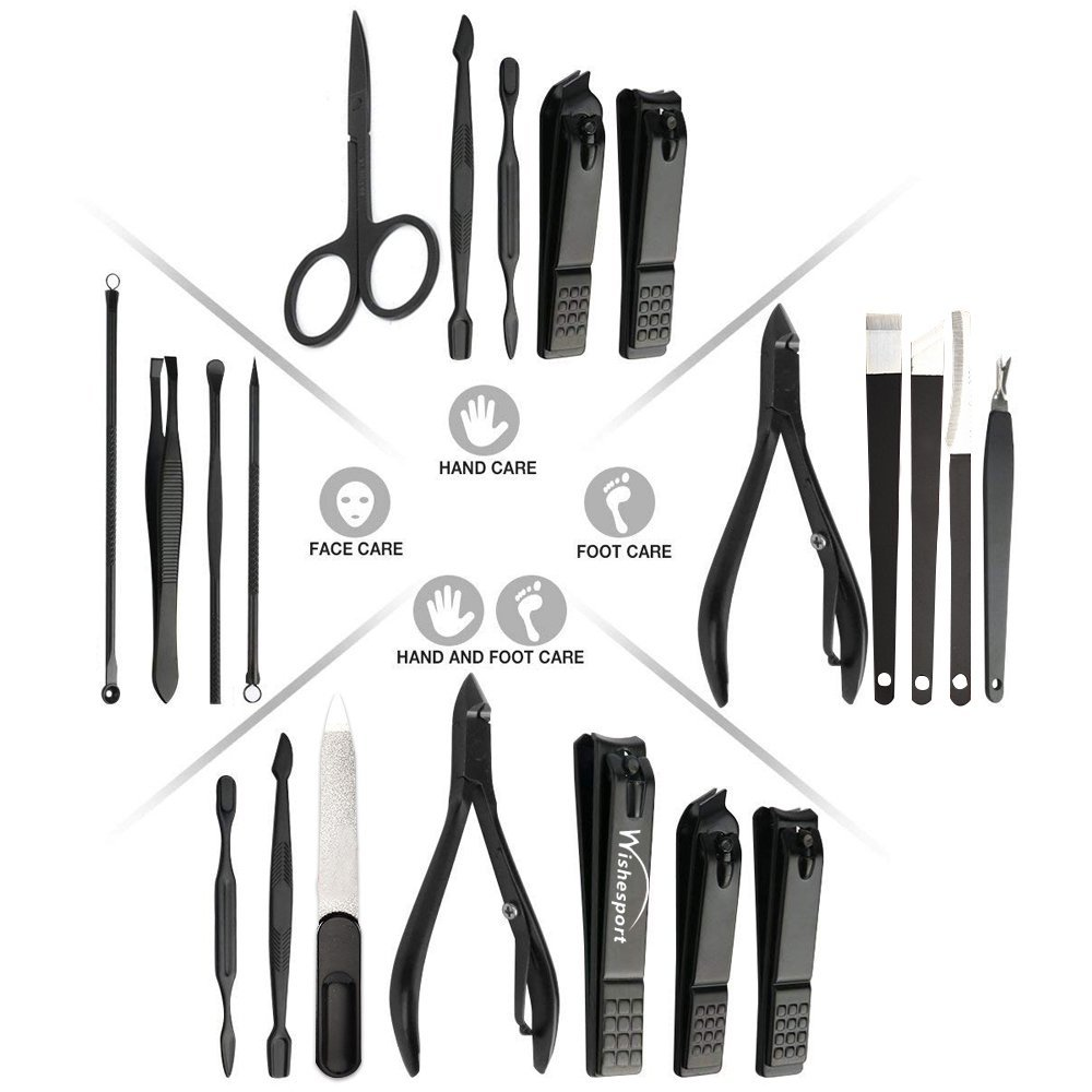 Manicure Set Pedicure Tools 17pcs Professional Nail Clippers Scissors Grooming Kit Manicure Tools Nail File 17pcs Stainless Steel Nail Clipper Fingernail Toenail Clippers by Wishesport (Black) by Wishesport (Image #6)